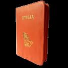 Biblia din piele, marime medie, portocalie, fermoar, cu maini, cuv. lui Isus cu rosu [053]