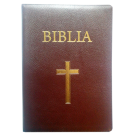 Biblia pentru amvon, foarte mare, piele, visinie, aurita, index, fermoar, cu cruce [093 PFI]