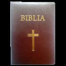 Biblia foarte mare, piele, visinie, aurita, cu cruce [093 P]