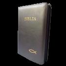 Biblia marime medie, piele, culoare gri inchis, fermoar, cu peste [053]