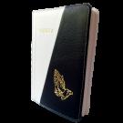 Biblia din piele, marime medie, alb / negru, fermoar, cu maini [053]