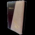 Biblia din piele, marime medie, maro / bej, fermoar, cu maini [053]