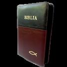 Biblia din piele, marime medie, negru - visiniu inchis, fermoar, cu peste [053]