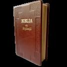 Biblia Handmade, mare, cu concordanta si explicatii, piele, visinie, aurita, cu maini, cuv. lui Isus cu rosu [CO 77 HM]