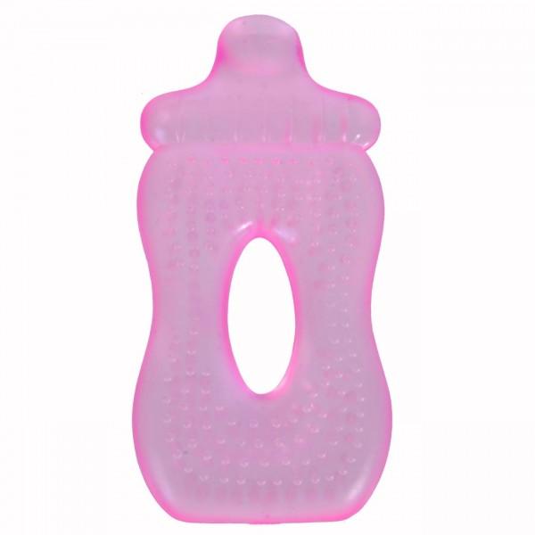 Jucarie dentitie silicon forma de biberon roz