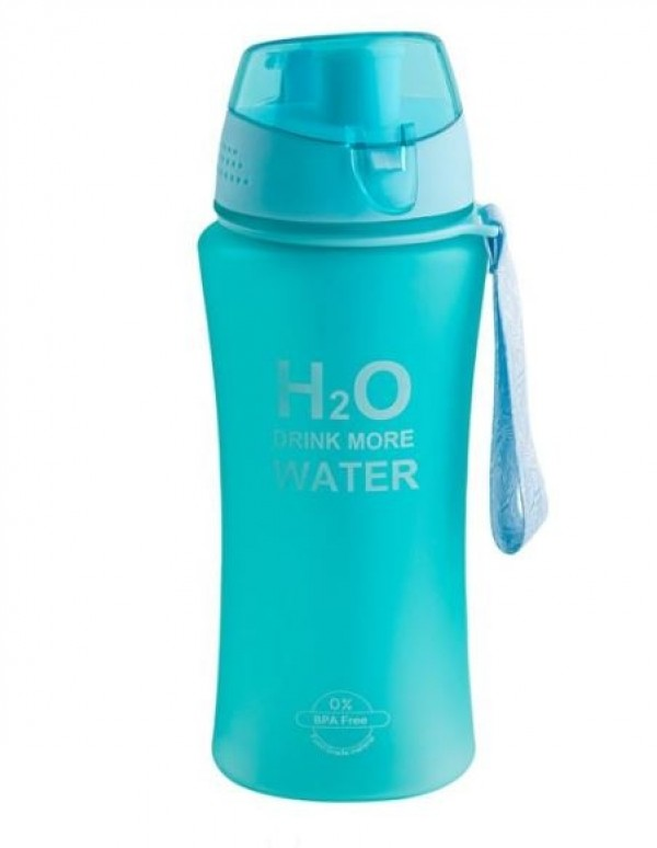 Bidonas apa, turcoaz - H2O Drink more w1ater - 480 ml
