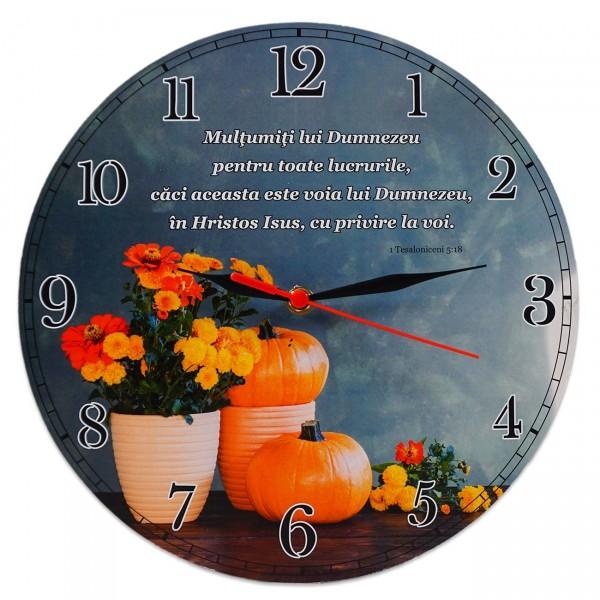 Ceas perete rotund cu mesaj creștin (30 cm) - Mulțumiți lui Dumnezeu pentru toate