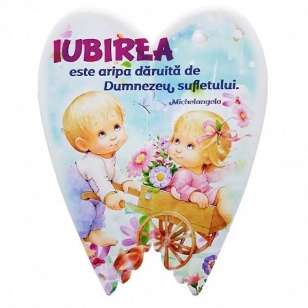 Aplica aripi ceramica - Iubirea este aripa daruita (16 x 20 cm)