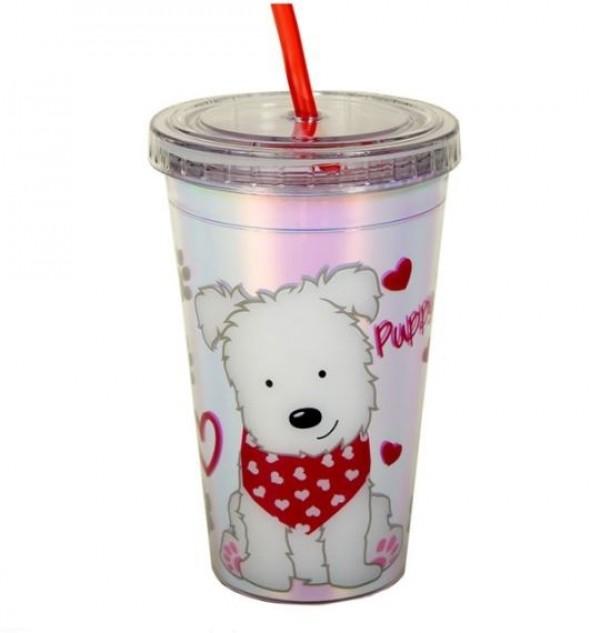 Pahar cu pai - Puppy Love - 300 ml