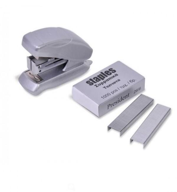 Mini capsator gri si 1000 capse - 26/6