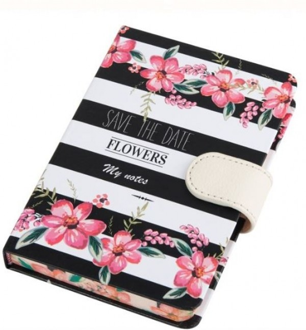 Carnetel A6, negru-alb - Save the date, Flowers, My notes