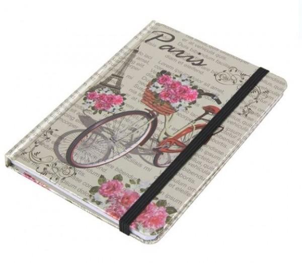 Carnetel A6, bicicleta, elastic negru - Paris