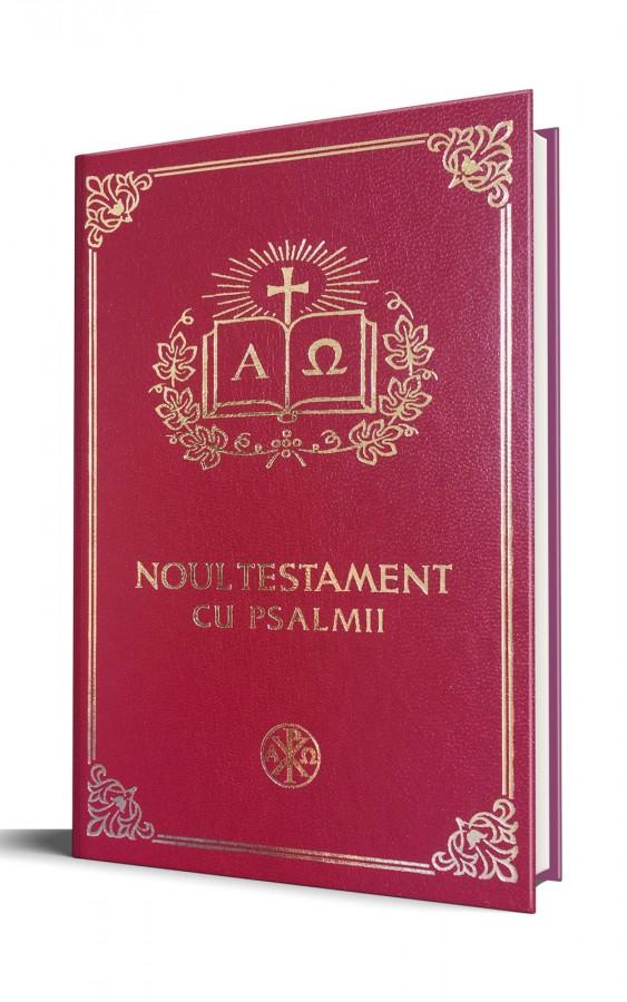 Biblia Ortodoxa - Noul Testament Ortodox cu Psalmii, mica, cartonata, visinie, scris foarte mare, margini albe