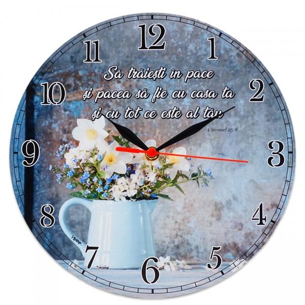 """Ceas perete rotund cu mesaj creștin (30 cm) - """"Să trăiești în pace..."""""""
