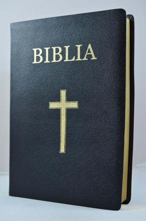 Biblia foarte mare, piele, neagra, aurita, cu cruce [093 P]