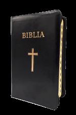 Biblia marime medie, piele ecologica, fermoar, margini aurii, index, simbol cruce, cuv. lui Isus cu rosu [SI 057 FI]