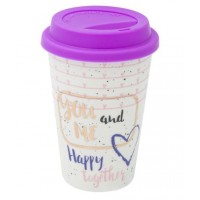 Cana cu capac mov din silicon - You and Me - 400 ml