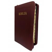 Biblie din piele, marime medie,visiniu inchis, fermoar, index, margini aurii, cuv. lui Isus cu rosu [SB 057 PFI]