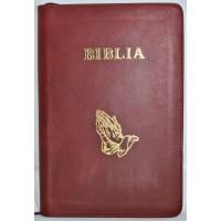 Biblie mare, piele, rosu inchis, fermoar, index, margini argintii, simbol maini in ruga, cuv. Isus cu rosu [SI 073 PFI]