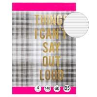 Caiet B5,coperta cu carouri și mesaj cu folie de aurie -Things I can't say