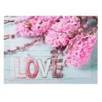 Tablou canvas, zambile - LOVE (32x25cm)
