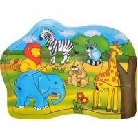 Puzzle din lemn - Animale din jungla - 9 piese - Activitati pentru copii (3+)