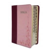 Biblie marime mica, piele ecologica, mov roz , index, margini argintate, cuv. Isus rosu [SI 043 I]