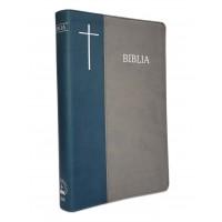 Biblia de lux, mare, coperta imitatie piele, bleu | gri, index, margini argintate, cuv. lui Isus cu rosu [SI 073 IP]
