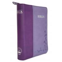 Biblie mica, piele ecologica, nuante de mov, fermoar, index, margini argintate, cuv. lui Isus cu rosu [SI 043 FI]