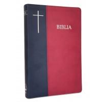 Biblia de lux, mare, coperta imitatie piele, bleumarin | visiniu, index, argintata, cuv. lui Isus cu rosu [SI 073 IP]