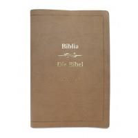 Biblia bilingva romana - germana, mare, piele ecologica, bej, aurita