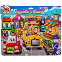 Puzzle - Autobuzul scolii, politia, 24 piese - Activitati pentru copii (3+)