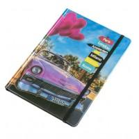 Caiet A5, albastru, masina roz, elastic negru - Paris, London, Amsterdam, Go, Milano, Firenze, Rome