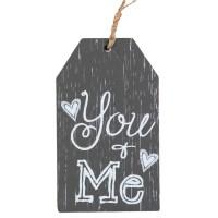 Agatatoare din lemn decorativa, gri - You, Me (6.5x11cm)
