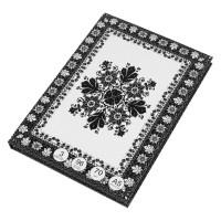 Caiet A4, coperta cartonata, model flori alb-negru