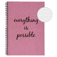 "Caiet B5 cu glitter roz și mesajul ""Everything is possible"""