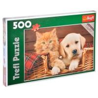 Puzzle, 500 piese - Caine si Pisica - Activitati pentru copii (5+)
