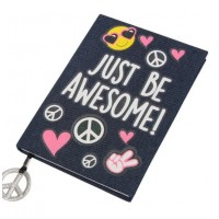 Caiet A5, albastru, jeans - Just be awesome