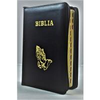 Biblie din piele, marime medie,culoare neagra, fermoar, index,simbol maini in ruga margini aurii, cuv. lui Isus cu rosu [SB 057 PFI]
