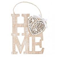 Agatatoare din lemn decorativa, bej - HOME, Love (16x20cm)