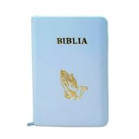 Biblia din piele, marime medie,culoare alba,margini albe, simbol maini in rugaciune, cuv. lui Isus cu rosu [053]