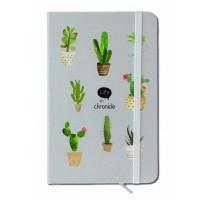 caiet pentru femei- Cactus gri-albastru ( 9x14x1.5 cm )