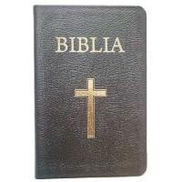Biblia din piele, mica, neagra, margini aurii, cu index, cu cruce [043 PRI]