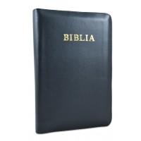 Biblie mare, piele naturală, neagra, fermoar, index, margini argintii, cuv. Isus cu rosu [SI 073 PFI]