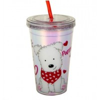 Pahar cu pai - Puppy Love - 300 ml