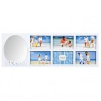 Rama foto alba, cu oglinda - 6 poze (65x23 cm)