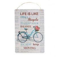 Decor metalic - Life is like riding a Bicycle (30x40cm)