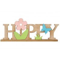 Decor din lemn, maro - HAPPY (30x12cm)