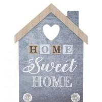 Cuier din lemn in forma de casa, albastru, 2 agatatori - Home Sweet Home (20x27cm)