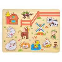 Puzzle din lemn - Ferma - Activitati pentru copii (3+)